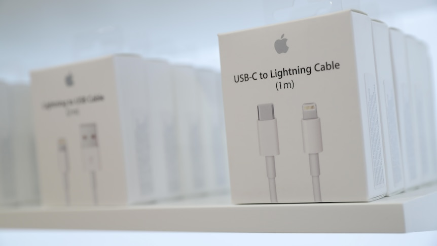 USB-C to Lightning Cable adapters are seen at an Apple store