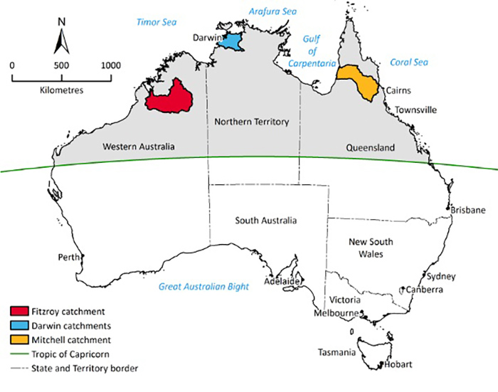 Graphic map of Australia showing catchment areas of Fitzroy, Darwin and Mitchell rivers.