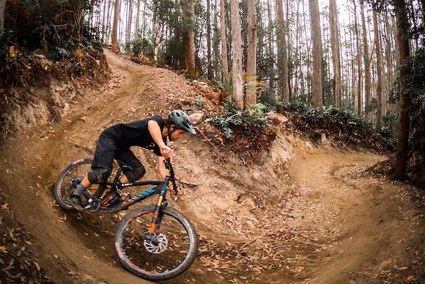 Rounding the bend at Maydena Bike Park, Tasmania.