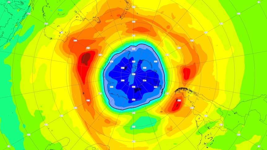 A map of the southern hemisphere highlighting the damaged ozone layer