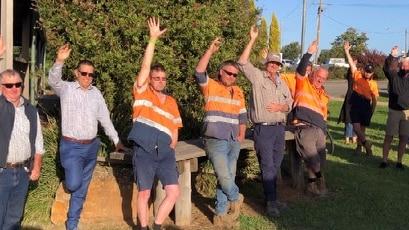 Workers voting at Heyfield