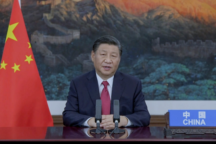 Chinese President Xi Jinping is seated beside a Chinese flag as he addresses the United Nations General Assembly
