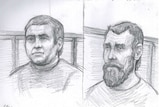 A sketch of two men in a courtroom