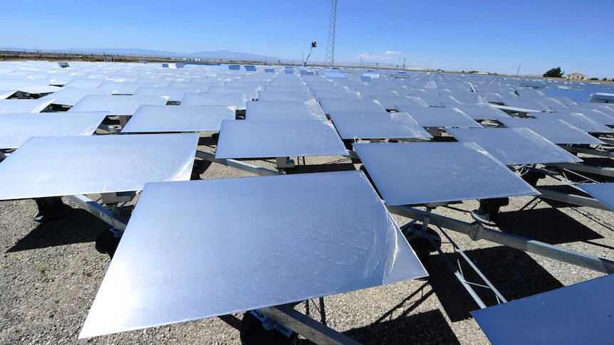 Heliostat panels at a solar thermal power plant