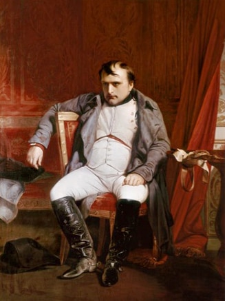 A painting of Napoleon Bonaparte sitting in a chair.