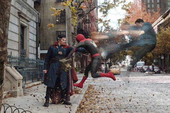 A still from the forthcoming Spider-man movie shows Dr Strange pushing Spider-man's astral projection out of his body.