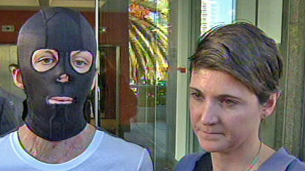 Turia Pitt and Kate Sanderson outside the inquiry