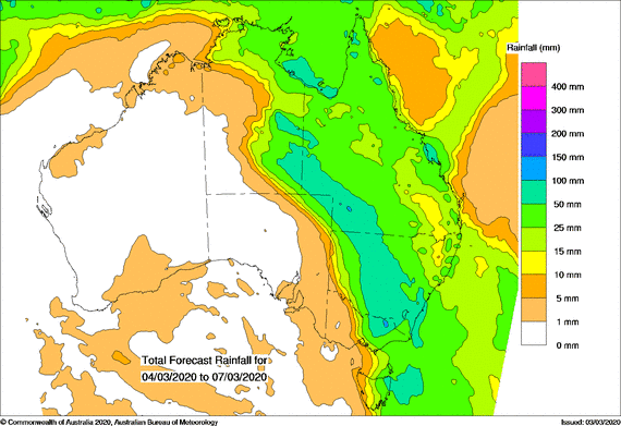 Green, more than 25mm for most of eastern Aus.