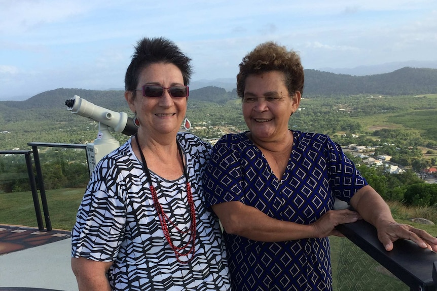 Loretta Sullivan and Alberta Hornsby on Grassy Hill lookout, Cooktown