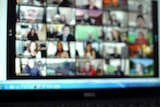 A video conference call on a laptop with at least 20 different participants.