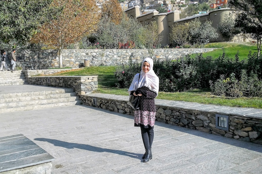 A young woman in Islamic dress in Kabul in Afghanistan.