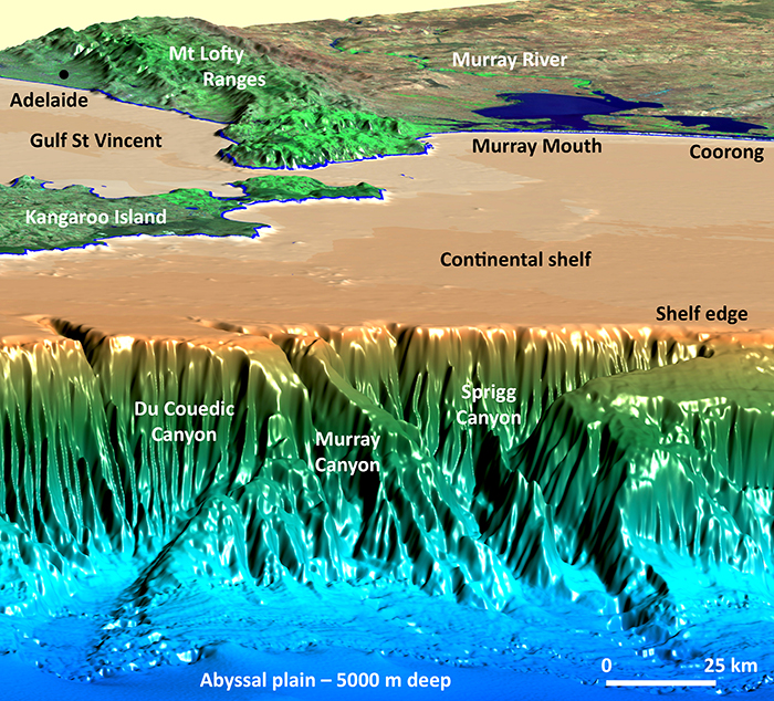 Graphic showing underwater canyons near Kangaroo Island