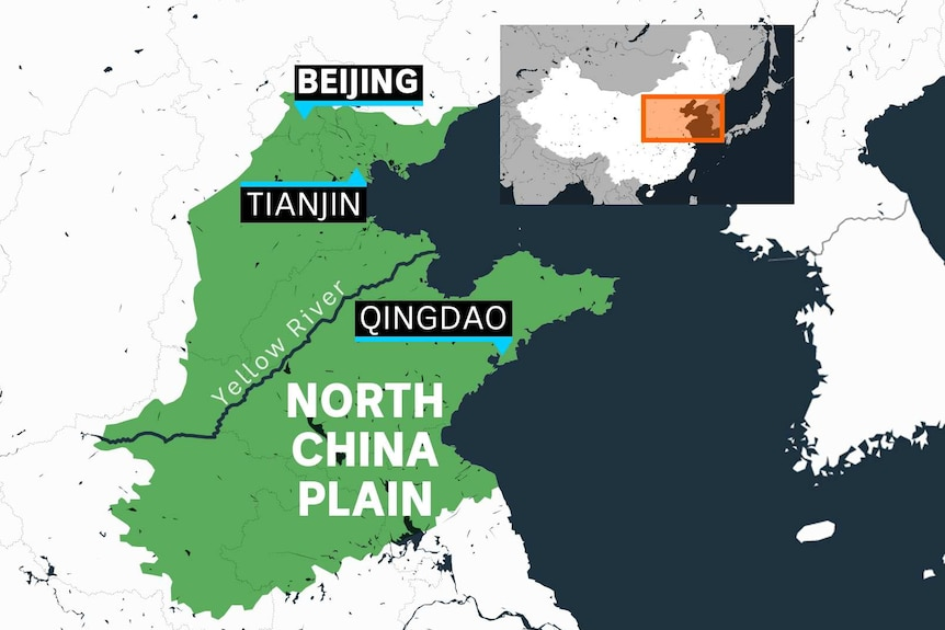 You view a part of north-east China shaded in green, with Beijing, Tianjin, and Qingdao listed.