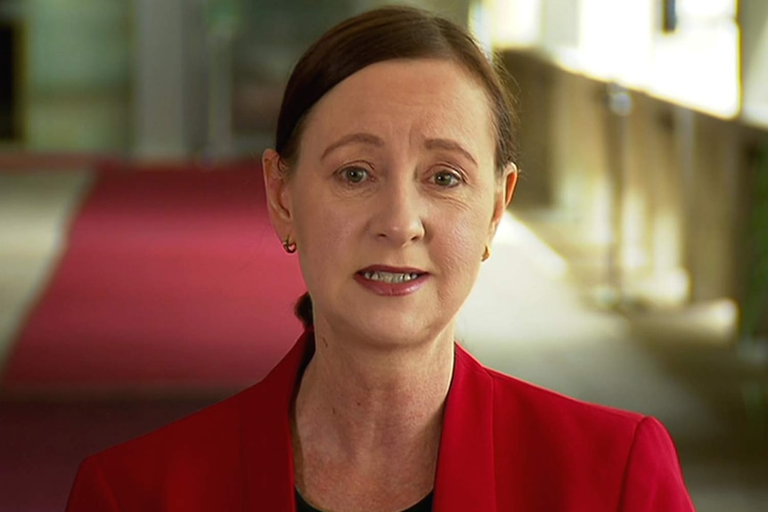 Queensland Health Minister Yvette D'Ath in a red jacket speaking to the media