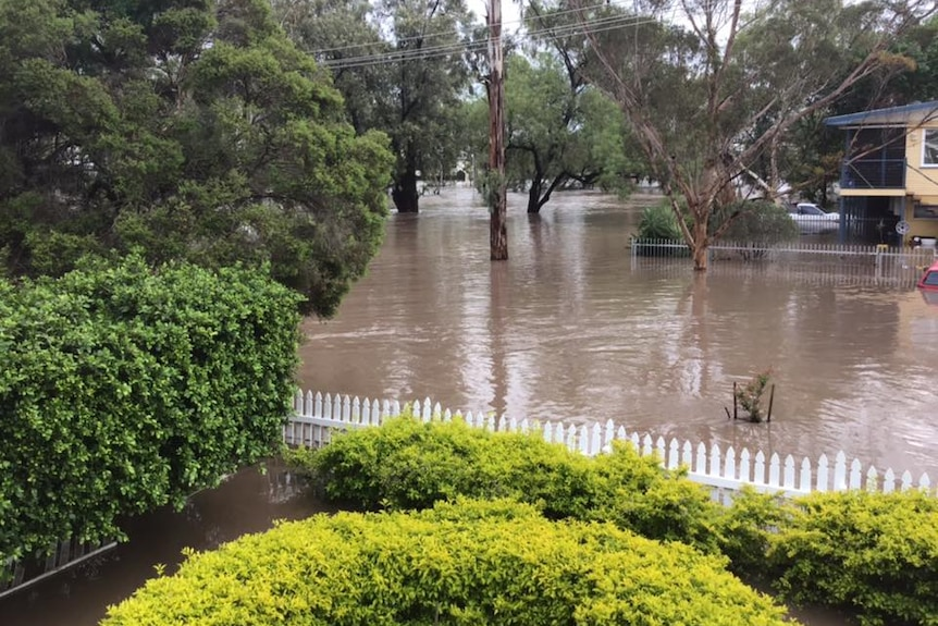 Water covers the street and front yard of a home at Dalby.