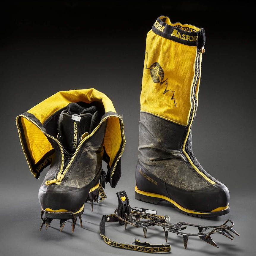 Climbing boots worn by Lincoln Hall on Mt. Everest 2006.