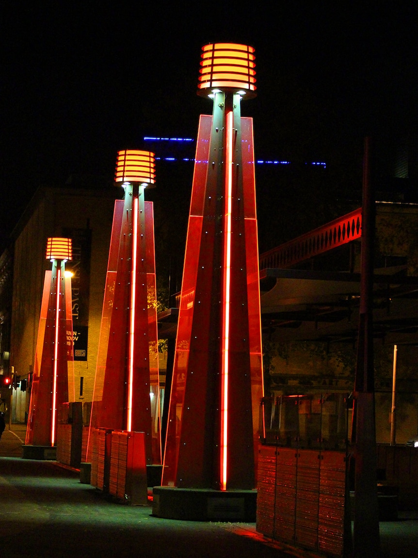 Lights turn red for Dark Mofo on Hobart waterfront