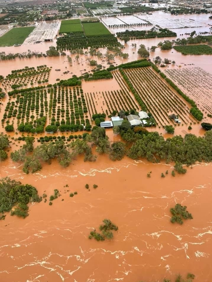 Aerial shot of trees and farms in floodwater stretching to the horizon from the overflowing banks of a muddy brown river.