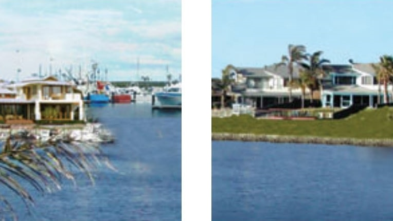 Two images of houses on a marina