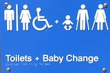 Generic toilet sign outside the unisex public amenities block at Coolum Beach.
