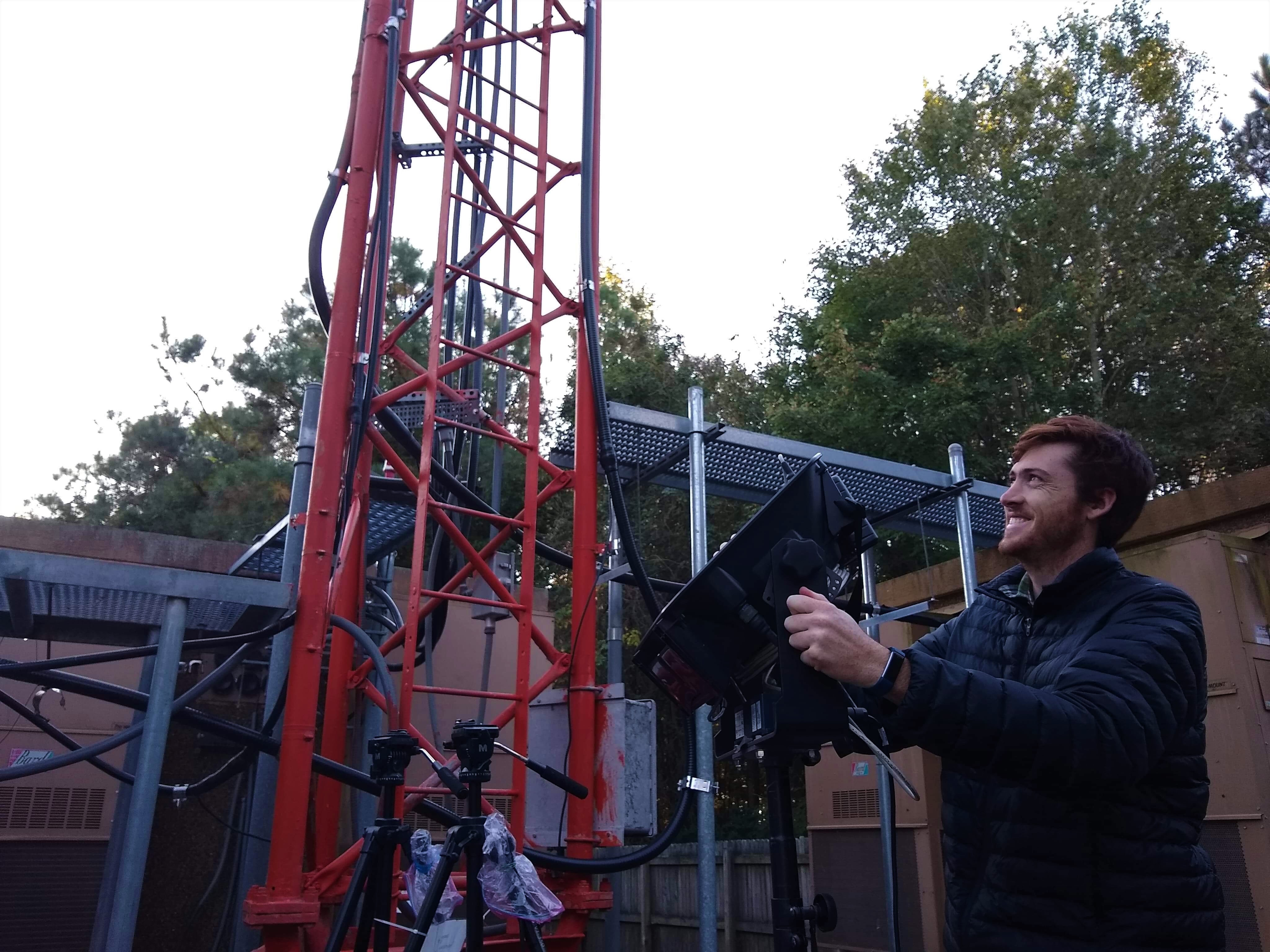 Researcher setting up for field testing