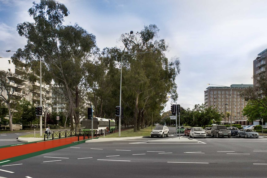 Artist's impression showing a dedicated bus lane carved out of the Northbourne Avenue median