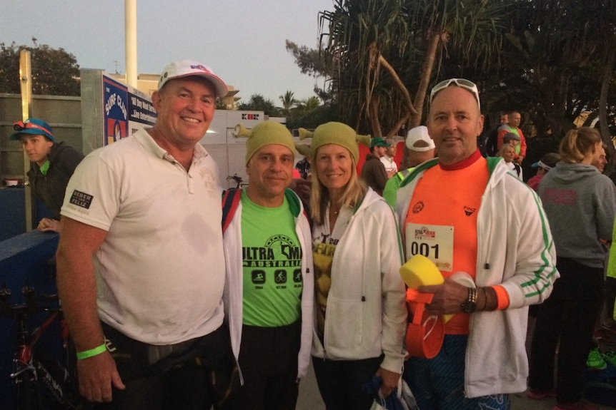 Rod Smith, who completed Ultraman in Wales, with support crew.