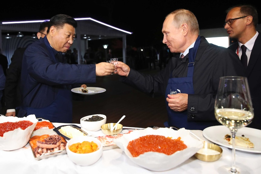 Vladimir Putin and Xi Jinping toast each other with vodka glasses