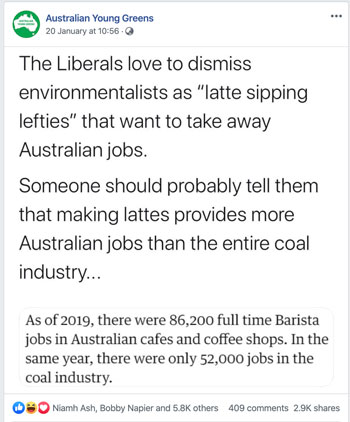 A post on the Young Greens' Facebook page, which claims that there are more full-time baristas than coal industry workers