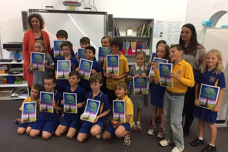 Year three students from Giralang Primary at the end of the school year, 17 December 2015