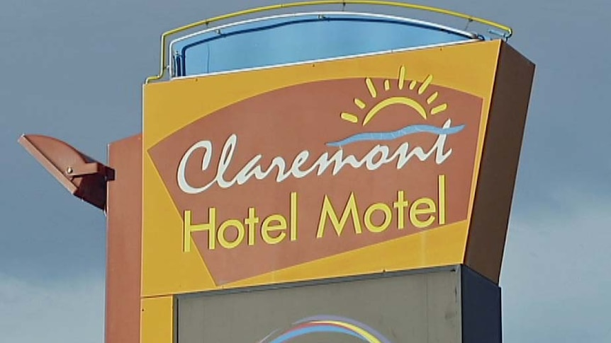 Sign outside Claremont hotel, southern Tasmania.