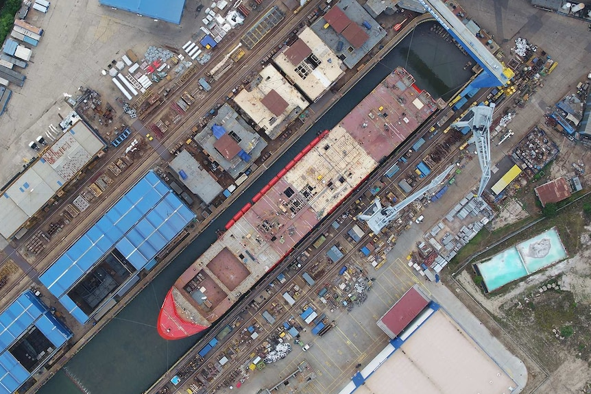 Aerial view of RSV Nuyina.