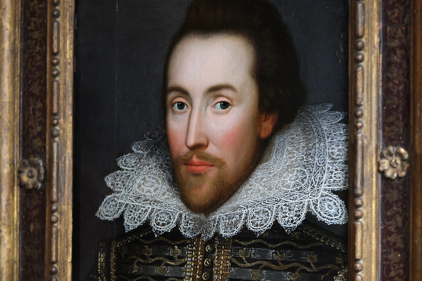 Portrait of William Shakespeare in his forties.