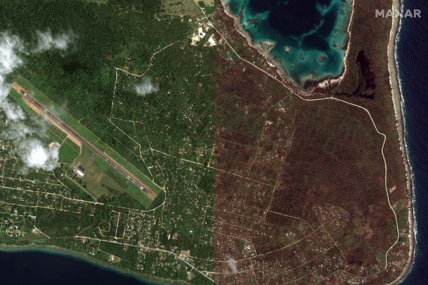 A split image shows a lush area with houses and the same area with destroyed forest and houses.