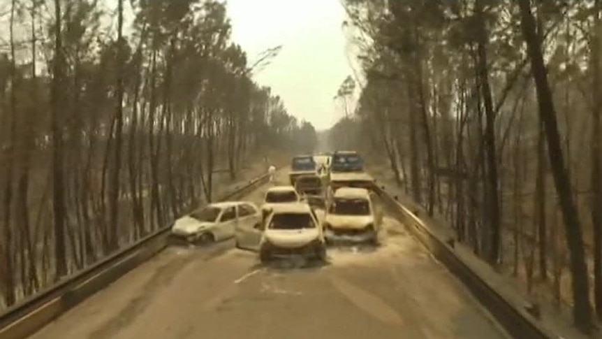 Drone footage shows burnt-out cars littering Portugese roads