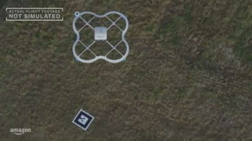 Amazon video shows the company's first delivery by drone.