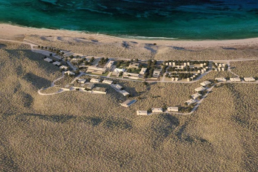 An artist's impression showing an aerial view of a beachside ecotourism resort opposite Ningaloo Reef.