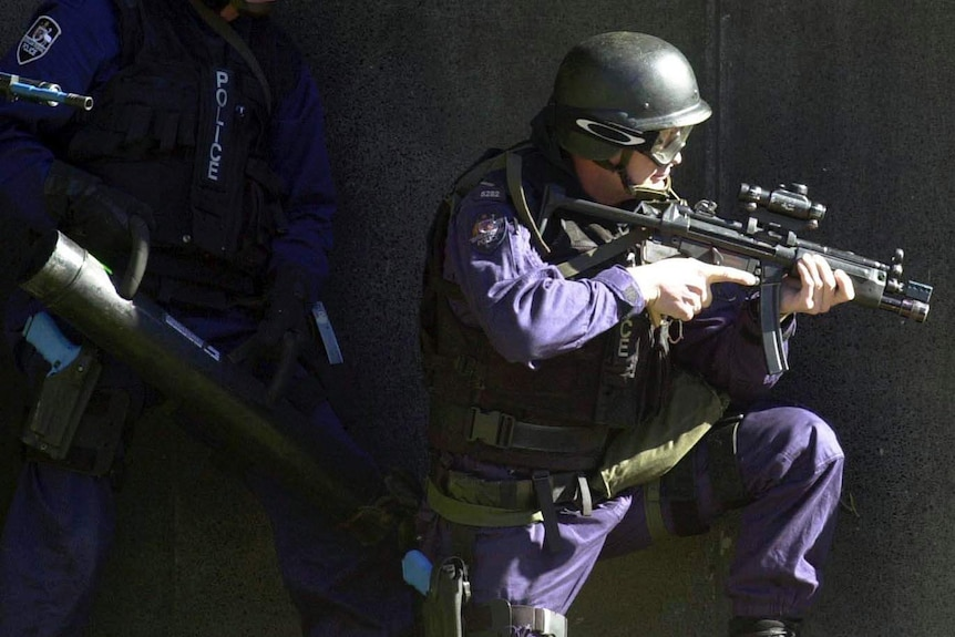 AFP officer during a counter-terrorism exercise.
