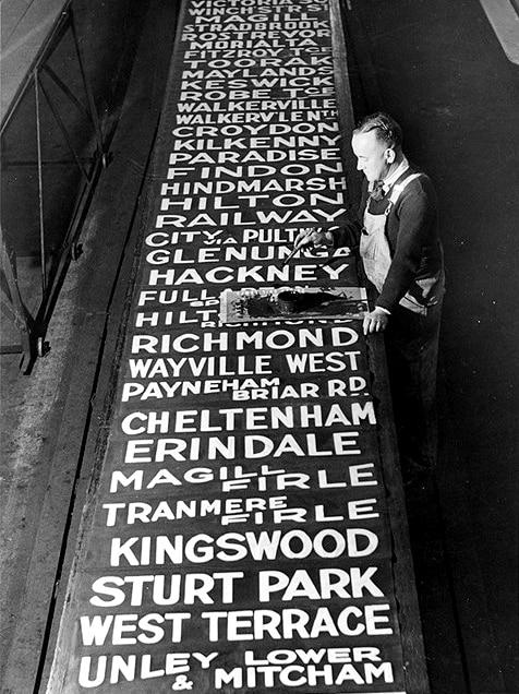 A list of tramway destination signs.