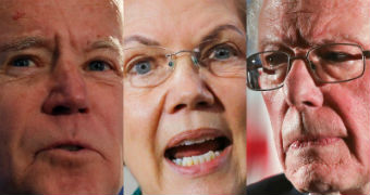 Composite image of Joe Biden, Elizabeth Warren and Bernie Sanders