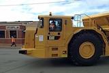 A Caterpillar mining truck being driven in Burnie, Tasmania.
