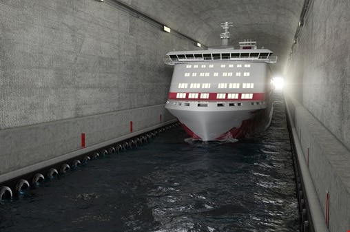 Vessel sailing through the tunnel