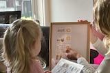 Preschooler and carer identifying working on activity.