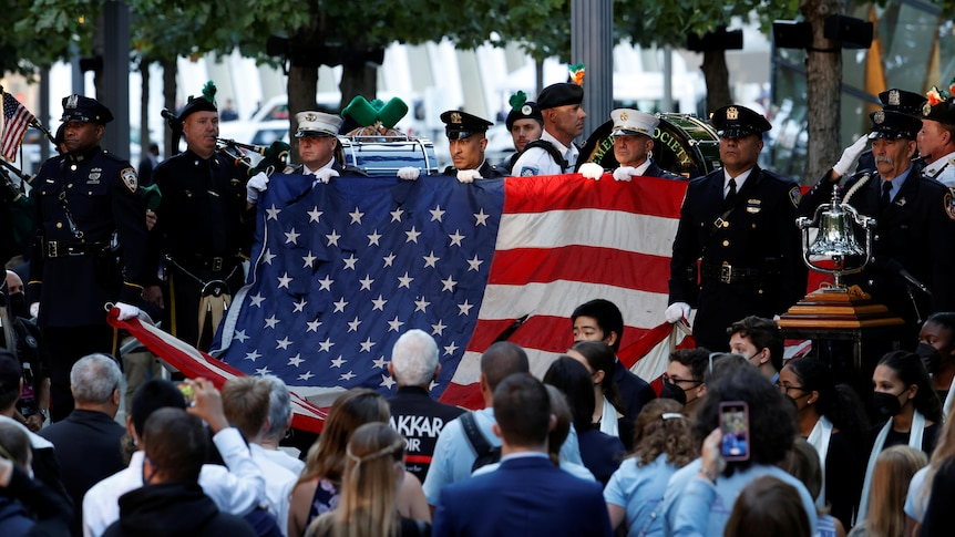 The US flag unveiled at the 20th anniversary of the September 11 attacks in New York City.