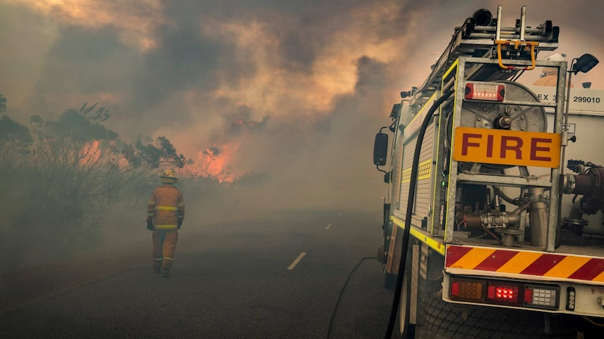 A firefighter walks along a road with flames in front of him. Smoke is everywhere.