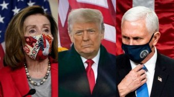 Composite image of Nancy Pelosi, Donald Trump and Mike Pence