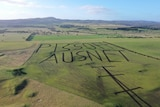 """A drone photo of a western Victorian farm with a paddock ploughed to read """"piss off Ausnet"""""""