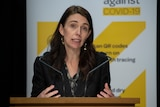 Jacinda Ardern stands at a microphone during a press conference.