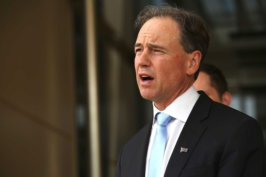 Health Minister Greg Hunt speaking at a press conference.