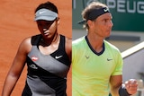 Composite image a female and a male tennis player